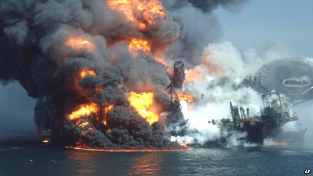 Smoke and flames rise from the Deepwater Horizon wellhead in the Gulf of Mexico