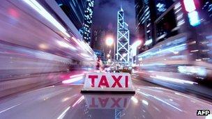 File photo: A taxi driving through Hong Kong