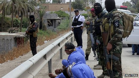 Men arrested in Baquba, Iraq. 18 May 2013