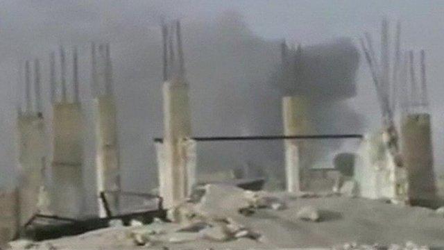 Smoke rising in Qusair