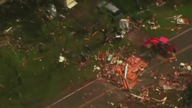 Aerial footage of damaged buildings