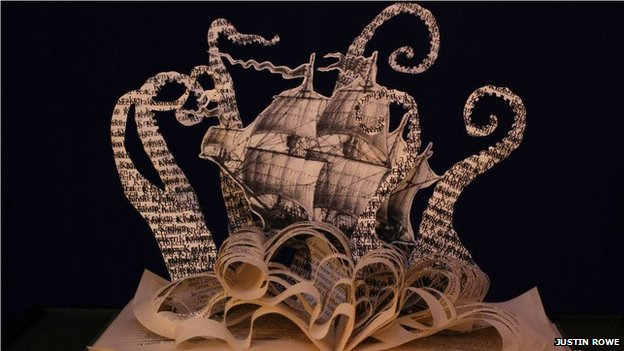 """Mythical sea creature, a """"Kraken"""" created by book sculptor Justin Rowe"""