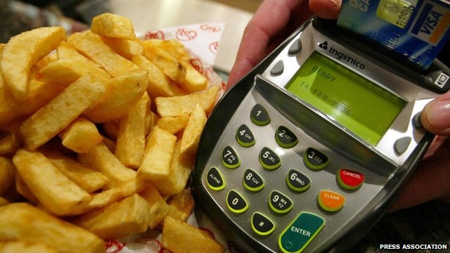 Chips are bought at Harry Ramsden's in Edinburgh, with a chip and pin card