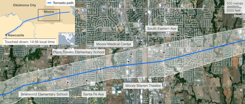 Map showing route of tornado through suburb of Moore