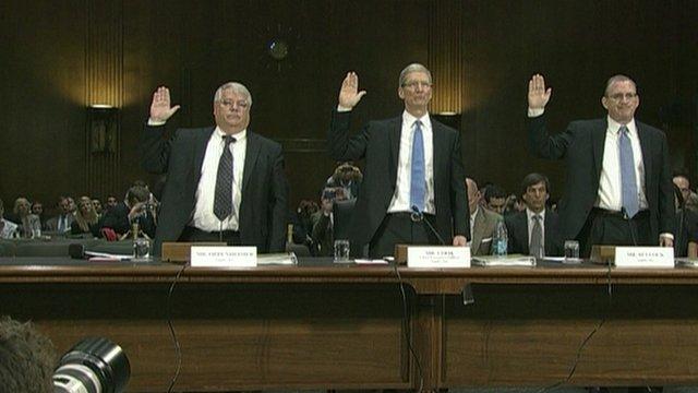 Apple's Tim Cook swears oath ahead of hearing