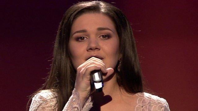 Russia's Dina Garipova singing at Eurovision
