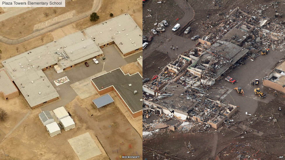 Plaza Towers Elementary School before and after images