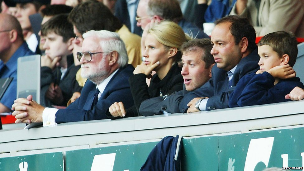New Chelsea owner Roman Abramovich (third from right) watches his side win after the Premiership match between Liverpool and Chelsea at Anfield on 17 August, 2003 in Liverpool