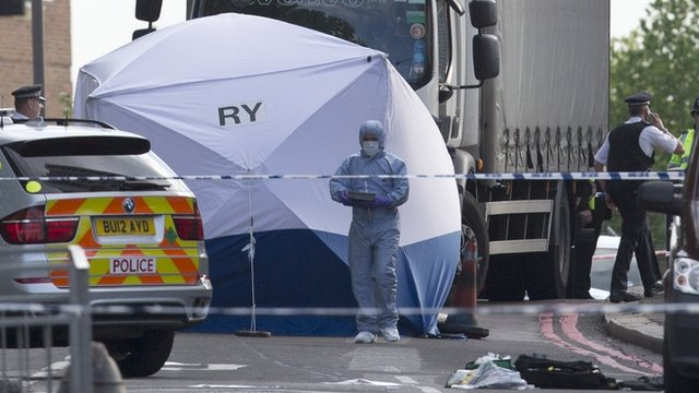 Police and forensic officers near the scene of an attack