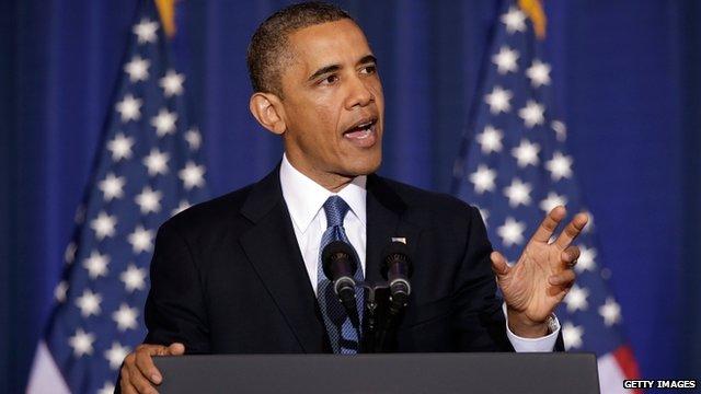 Barack Obama speaking in Washington