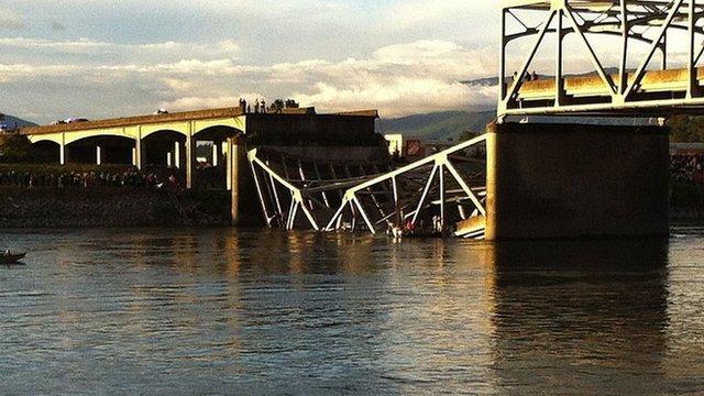 Part of Interstate 5 bridge collapsed in Skagit River near Mount Vernon, Washington. 23 May 2013
