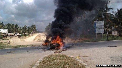 Burning tyres in Mtwara in Tanzania - May 2013