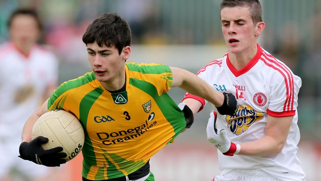 Donegal's Jack O'Brien tries to evade Daire Gallagher of Tyrone