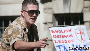 Tommy Robinson gives a speech