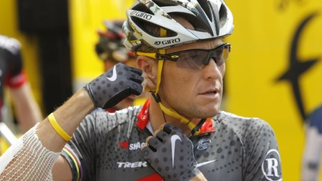 Lance Armstrong in Wanze, Belgium in July 2010