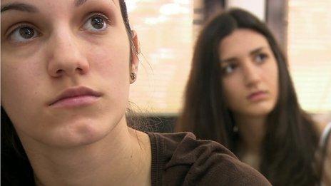 Greek students study in class