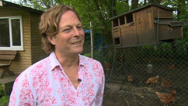 Darren Steele with his chicken shed hoist