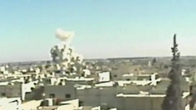 Unverified footage reportedly showing an attack on Qusair