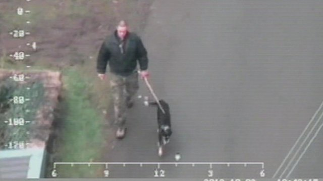 CCTV shows Mark Bridger with dog