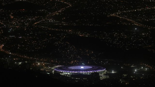 An aerial view of the Maracana stadium on 31 May