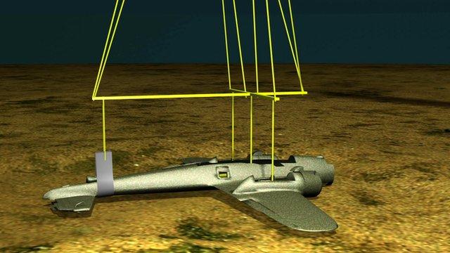 Graphic illustration of plan to lift Dornier 17 bomber