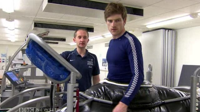 Martyn Irvine is put through his paces by the Sports Institute of Northern Ireland's Head of Sports Medicine Phil Glasgow