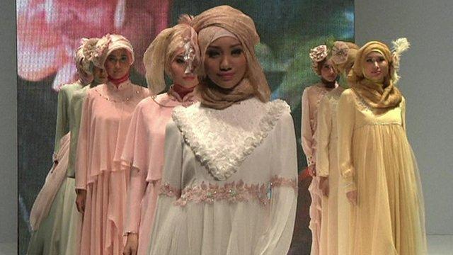 Models at the fourth Indonesian Islamic Fashion Fair in Jakarta