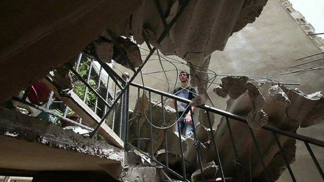 A damaged building in Hermel, Lebanon