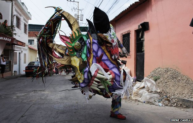 A lone dancer in the streets of Naiguata on 30 May 2013