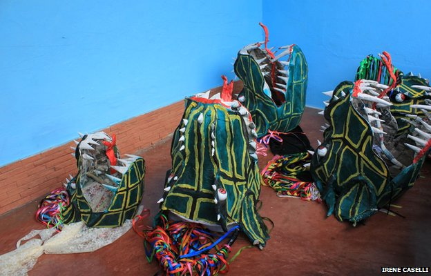 Masks are ready for the procession on 30 May 2013