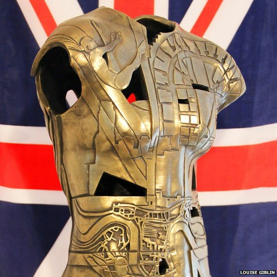Olympian sculpture featuring Beth Tweddle and Union Flag