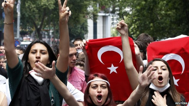 Protesters shout anti-government slogans during a demonstration in Ankara 3 June 2013