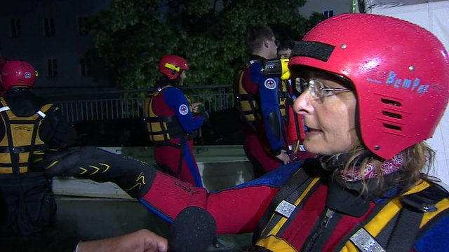 Rescue workeres in Passau are going house to house checking on residents