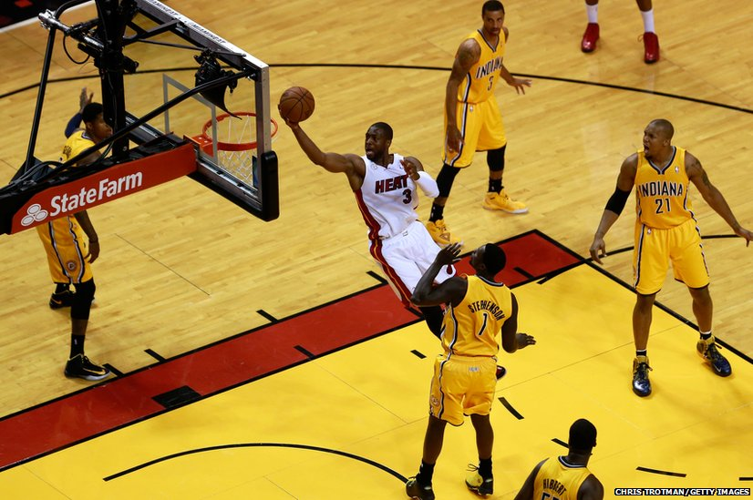 Dwyane Wade of the Miami Heat shoots during a basketball match