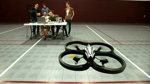 Thought-controlled drone on obstacle course