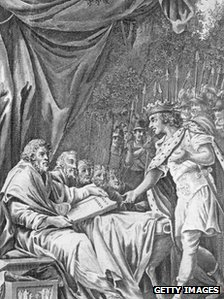 King John agreeing to seal the Magna Carta in Runnymede