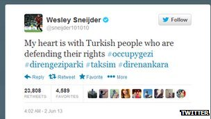 Message by Wesley Sneijder in support of Istanbul protests