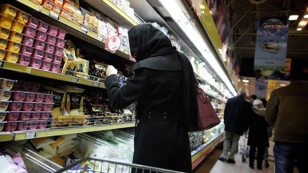 Woman in a supermarket in Tehran
