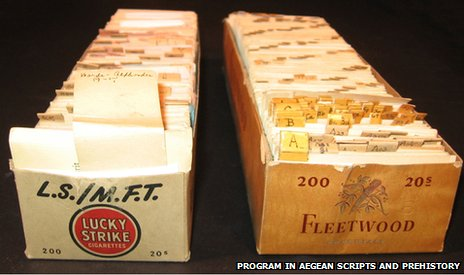 Cigarette cartons with Kober's hand cut notes on Linear B inscriptions