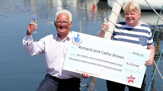 Lottery winners Richard and Cathy Brown from Ipswich, Suffolk