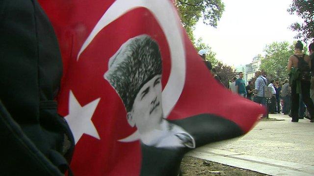 A flag in Gezi Park