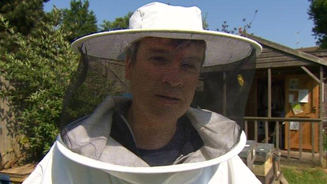 Nick Watt dressed as beekeeper