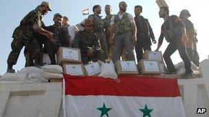 Syrian troops in Qusair, 6 June
