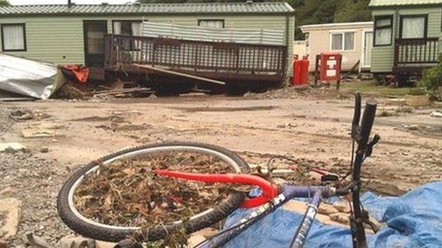 Riverside caravan park near Llandre, Aberystwyth, was affected by the floods