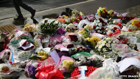 Flowers at the scene of the killing of Drummer Lee Rigby, in south-east London