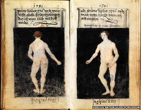 Pages from the manuscript depicting Schwarz naked from the rear and front