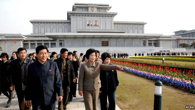 North Koreans visit Kumsusan Palace