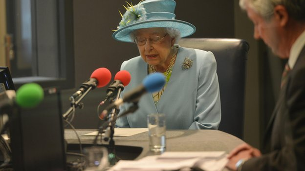 The Queen officially opening Broadcasting House with a live message on BBC Radio 4