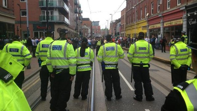 Line of police and protestors