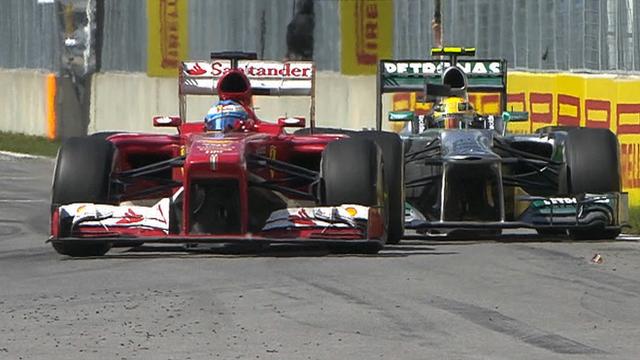 Ferrari's Fernando Alonso and Mercedes' Lewis Hamilton